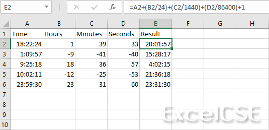 How to Add Seconds, Minutes and Hours to a Time in Excel